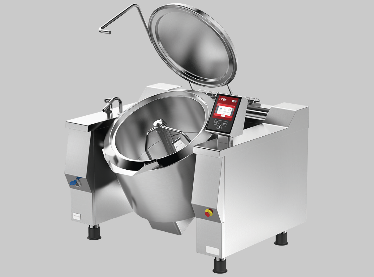 Braising pan with mixer logo